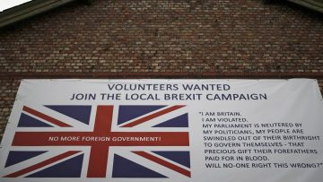 A banner encouraging people to support a local Brexit campaign hangs on the side of a building in Altrincham, Britain May 3, 2016. REUTERS/Phil Noble