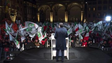 Florence  Italy   02 12 2016 - A handout image released by the Palazzo Chigi press office shows Italian Prime Minister Matteo Renzi  C  delivering his speech during the campaign for to vote  Yes  in the 04 December Costitutional Referendum  in Florence  Italy  02 December 2016  The crucial referendum is considered by the government to end gridlock and make passing legislation cheaper by  among other things  turning the Senate into a leaner body made up of regional representatives with fewer lawmaking powers  It would also do away with the equal powers between the Upper and Lower Houses of parliament - an unusual system that has been blamed for decades of political gridlock   Florencia  Italia  EFE EPA TIBERIO BARCHIELLI   HANDOUT HANDOUT EDITORIAL USE ONLY NO SALES