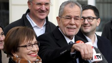 CORRECTION - Alexander Van der Bellen  leader of the Green Party  candidate for presidential election shows journalists how he casted his ballot as he leaves the polling station at the 6th district in Vienna during Austria s Presidential elections on December 04 2016    AFP PHOTO   APA   ROLAND SCHLAGER   Austria OUT    The erroneous mention s  appearing in the metadata of this photo by ROLAND SCHLAGER has been modified in AFP systems in the following manner   Alexander Van der Bellen  candidate for presidential election  instead of  Alexander Van der Bellen  leader of the Green Party  candidate for presidential election   Please immediately remove the erroneous mention s  from all your online services and delete it  them  from your servers  If you have been authorized by AFP to distribute it  them  to third parties  please ensure that the same actions are carried out by them  Failure to promptly comply with these instructions will entail liability on your part for any continued or post notification usage  Therefore we thank you very much for all your attention and prompt action  We are sorry for the inconvenience this notification may cause and remain at your disposal for any further information you may require