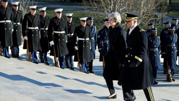 British Prime Minister Theresa May arrives to lay a wreath at the Tomb of the Unknown Soldier at Arlington National Cemetery in Washington, U.S., January 27 2017. REUTERS/Yuri Gripas